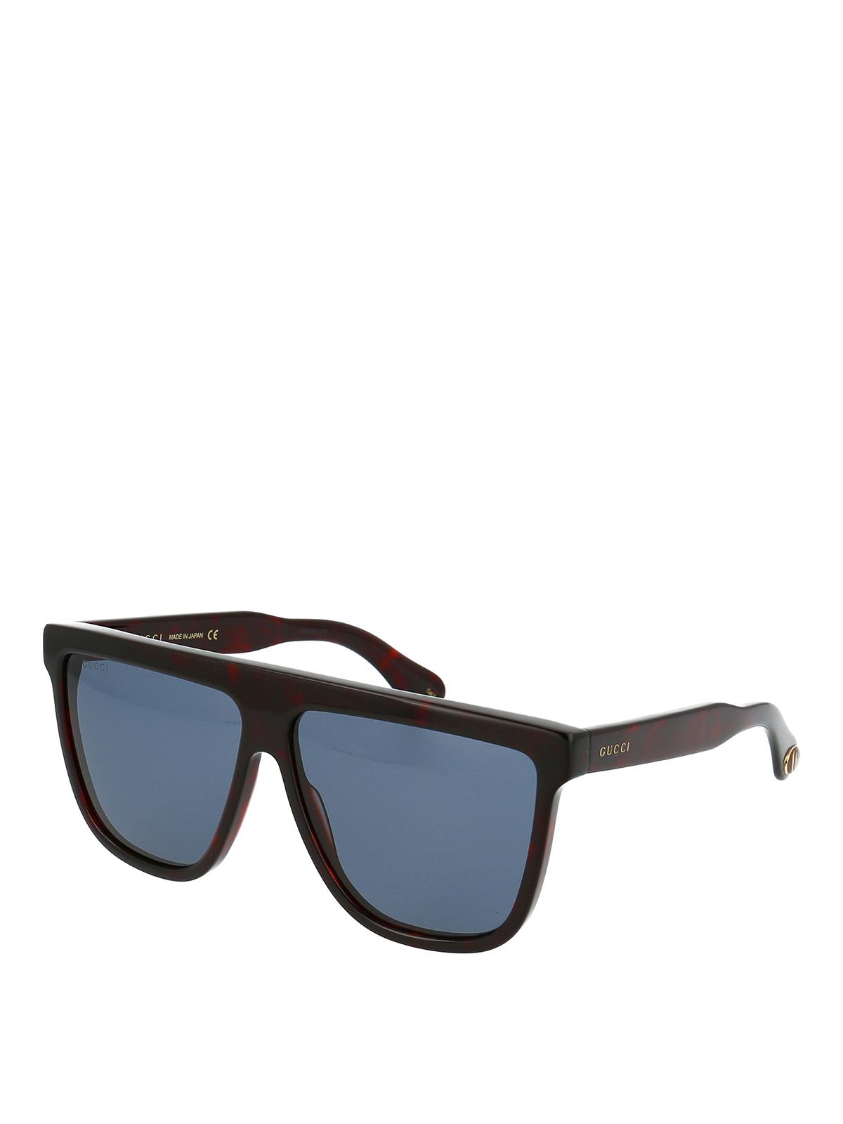 Gucci Dark Havana Wayfarer Sunglasses In Dark Brown