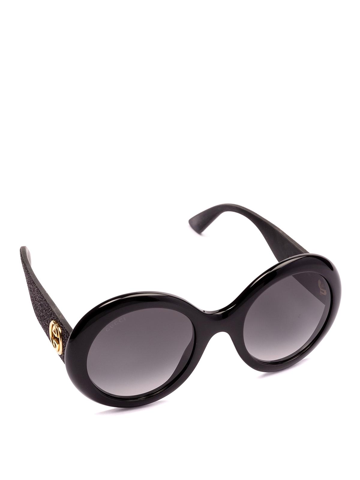 ffa31c09d2a Gucci - Glitter temples round sunglasses - sunglasses - GG0101S 001