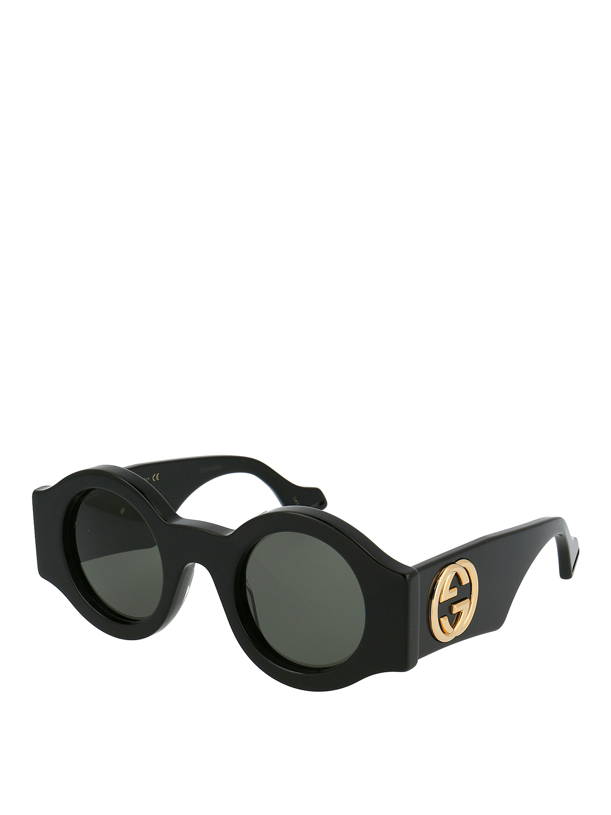 Gucci Golden Gg Logo Round Acetate Sunglasses In Black