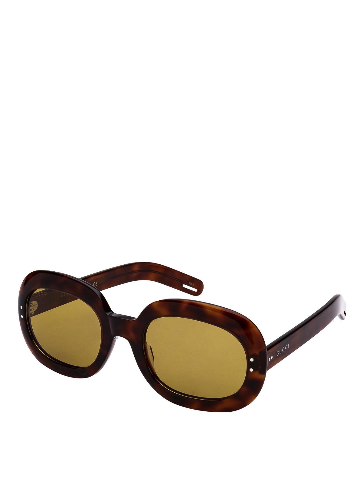 Gucci Tortoise Round Sunglasses In Dark Brown