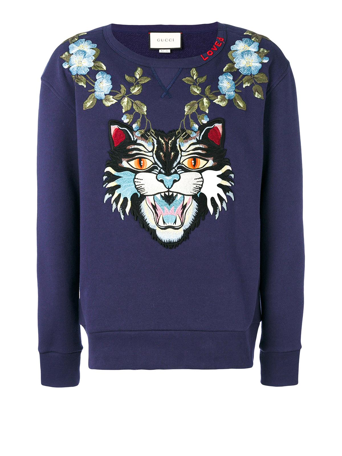 b457e809b598 Gucci - Angry Cat and floral sweatshirt - Sweatshirts & Sweaters ...