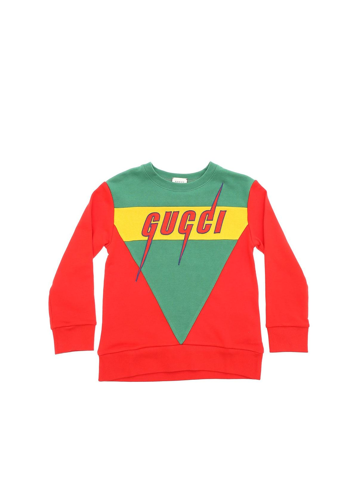 Gucci Kids' Embroidered Logo Sweatshirt In Red And Green