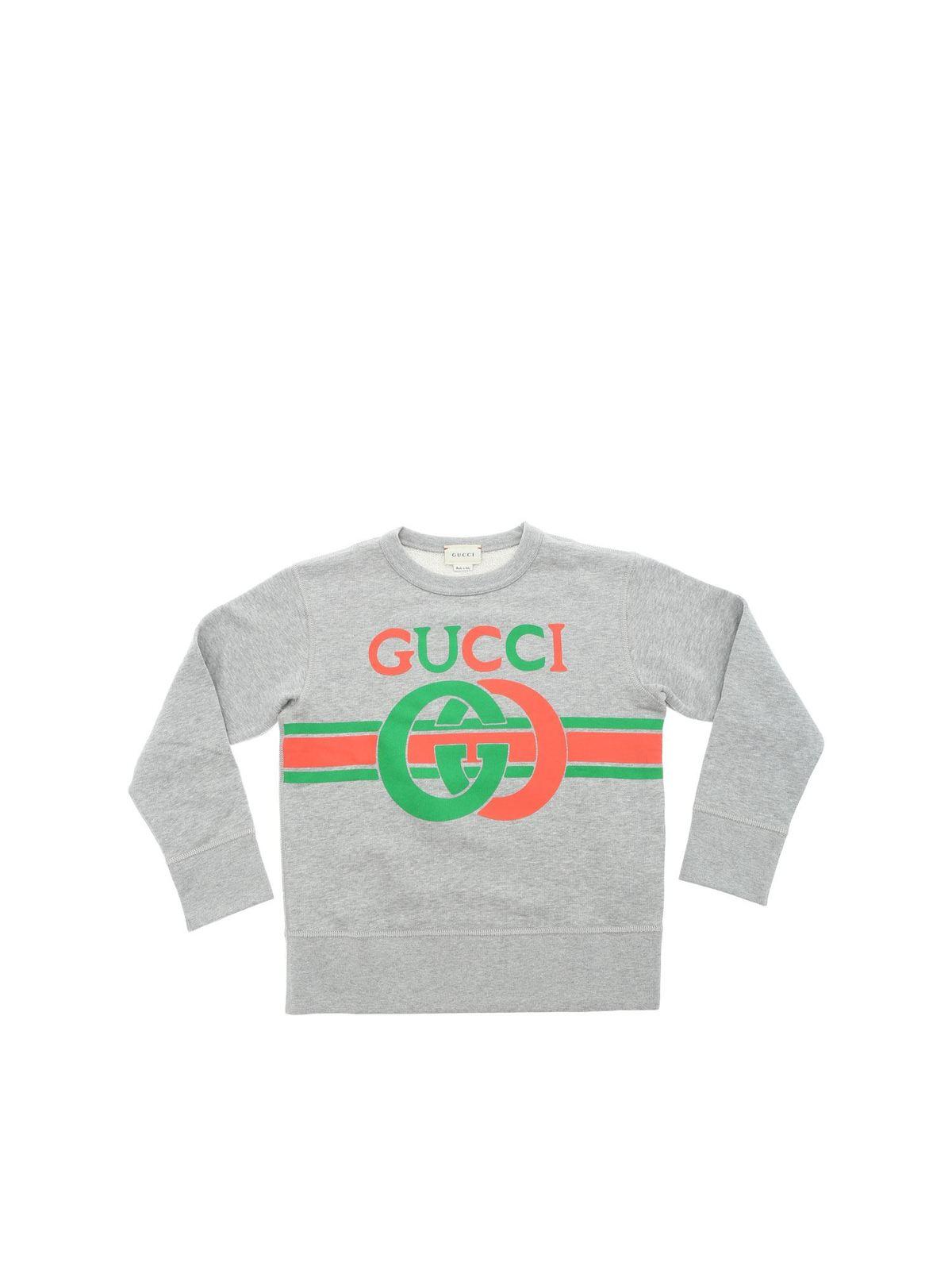 Gucci Kids' Gg Logo Sweatshirt In Gray In Grey