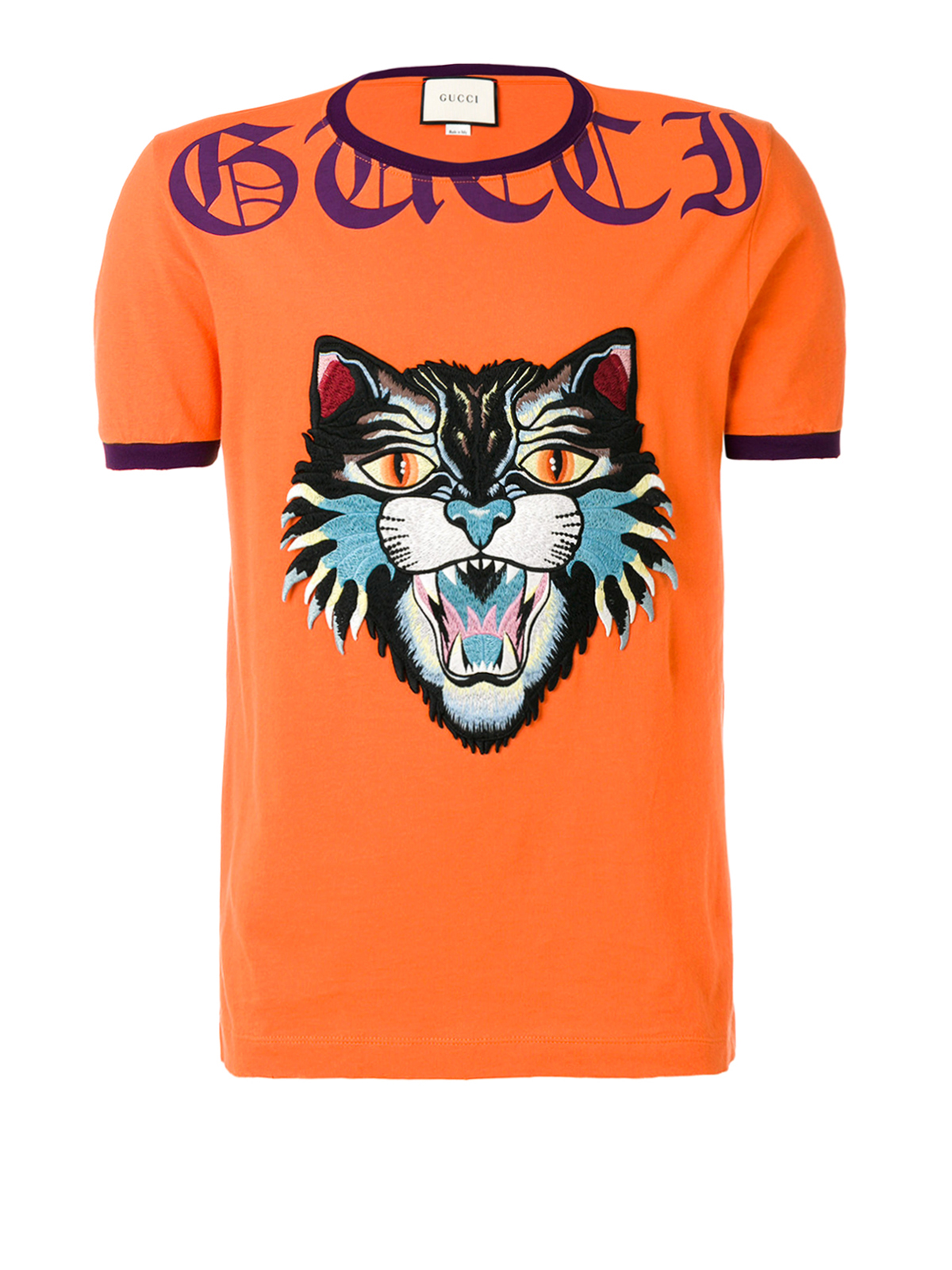 angry cat patch orange t shirt by gucci t shirts ikrix. Black Bedroom Furniture Sets. Home Design Ideas