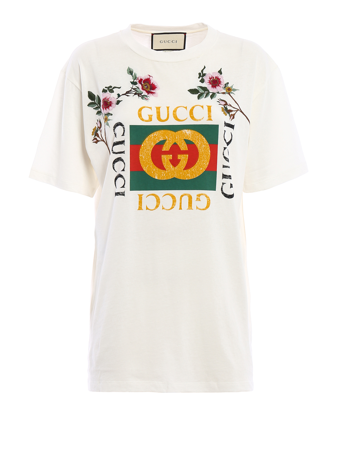 embroidered flower printed t shirt by gucci t shirts. Black Bedroom Furniture Sets. Home Design Ideas