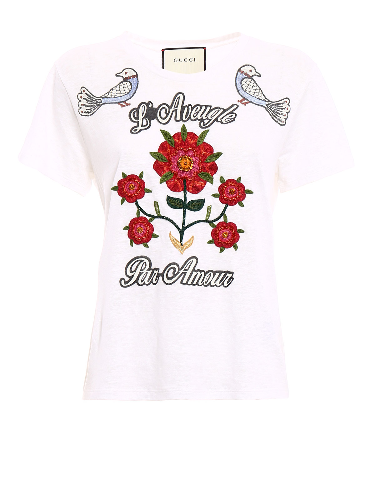 Embroidered linen t shirt by gucci shirts ikrix
