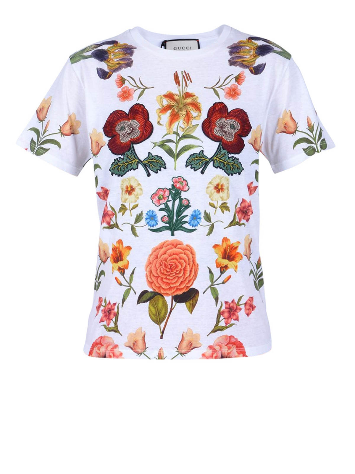 flower embellishment t shirt by gucci t shirts ikrix. Black Bedroom Furniture Sets. Home Design Ideas