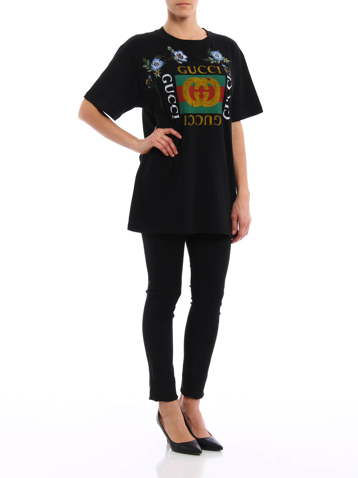 Embroidered flower printed t shirt by gucci t shirts ikrix for T shirt printers online