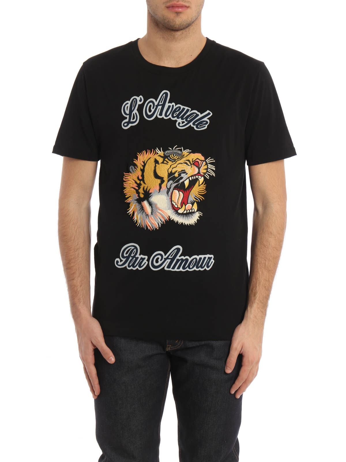 embroidered tiger patch t shirt von gucci t shirts. Black Bedroom Furniture Sets. Home Design Ideas