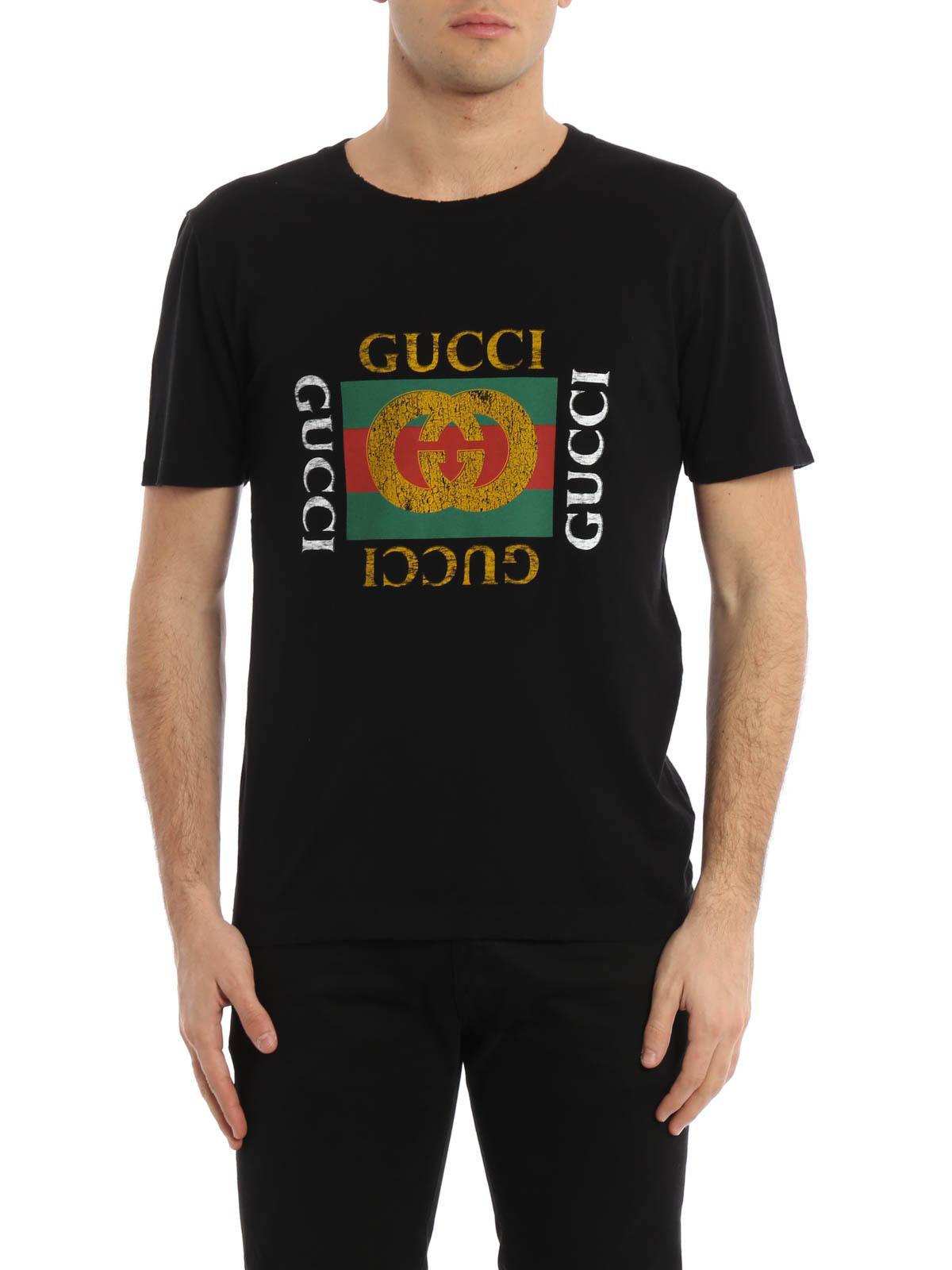 Logo print jersey t shirt by gucci t shirts ikrix for Logo t shirts online