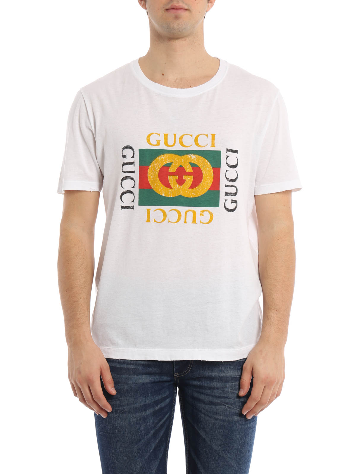 Vintage effect logo print t shirt by gucci t shirts ikrix for Tee shirt logo printing