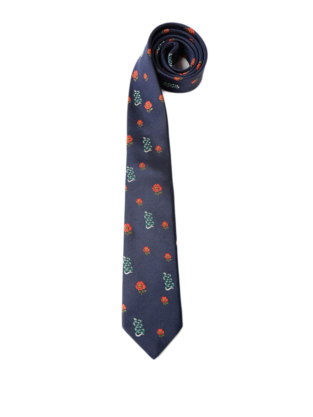 Gucci Snake And Flower Pattern Silk Tie Ties Amp Bow