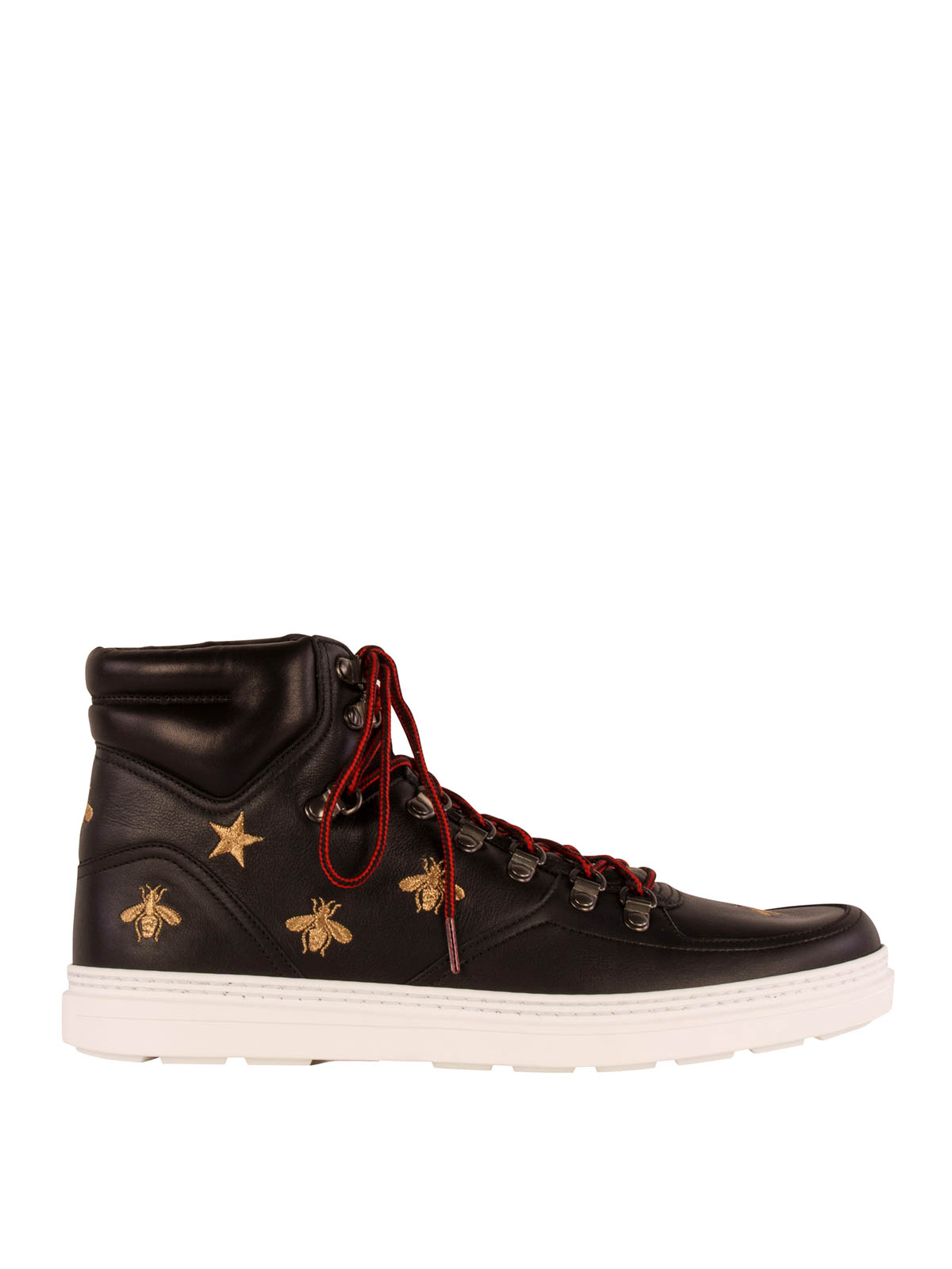 leather high top sneakers by gucci trainers ikrix. Black Bedroom Furniture Sets. Home Design Ideas