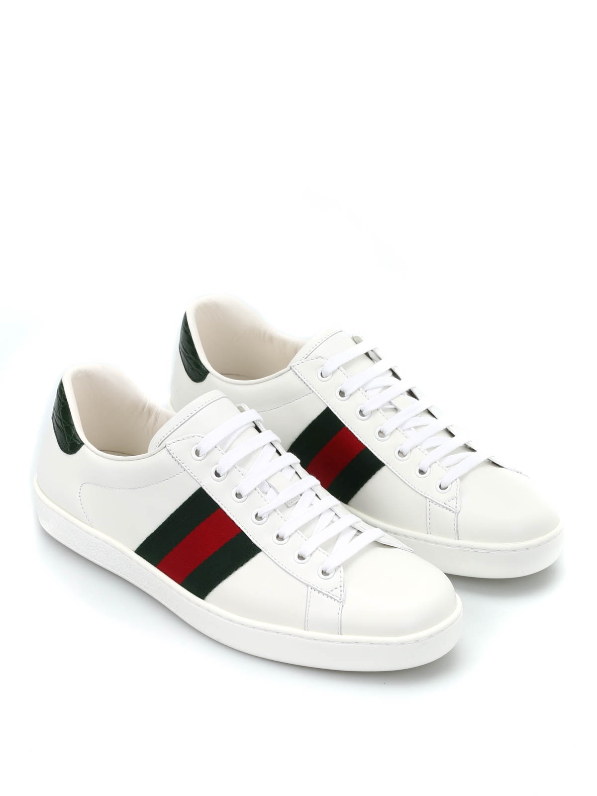 gucci leather sneakers with web detail trainers 386750 a3830 9071. Black Bedroom Furniture Sets. Home Design Ideas