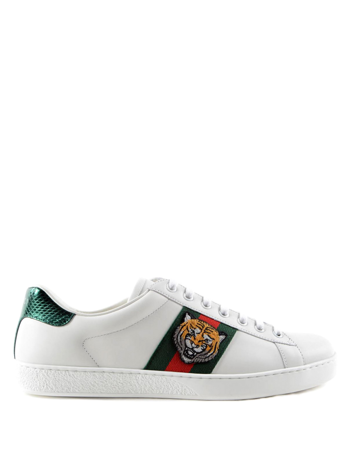 Gucci - Web and tiger patch sneakers - trainers - 457132 A38G0 9064 cbb331d50
