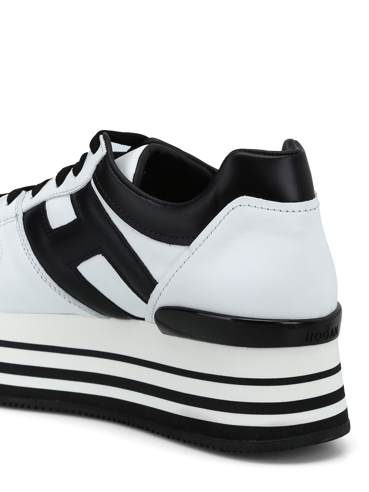 Hogan - H283 white and black leather sneakers - trainers ...