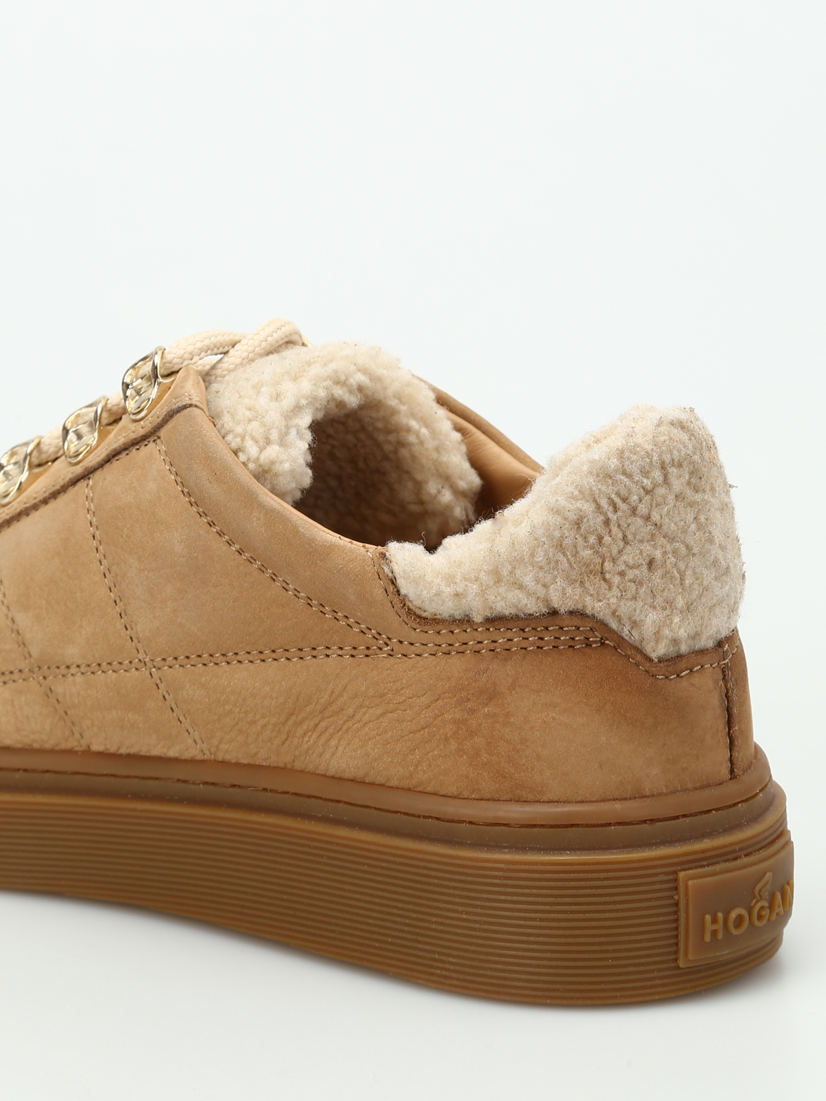 Trainers Hogan - H340 nubuck and shearling sneakers ...