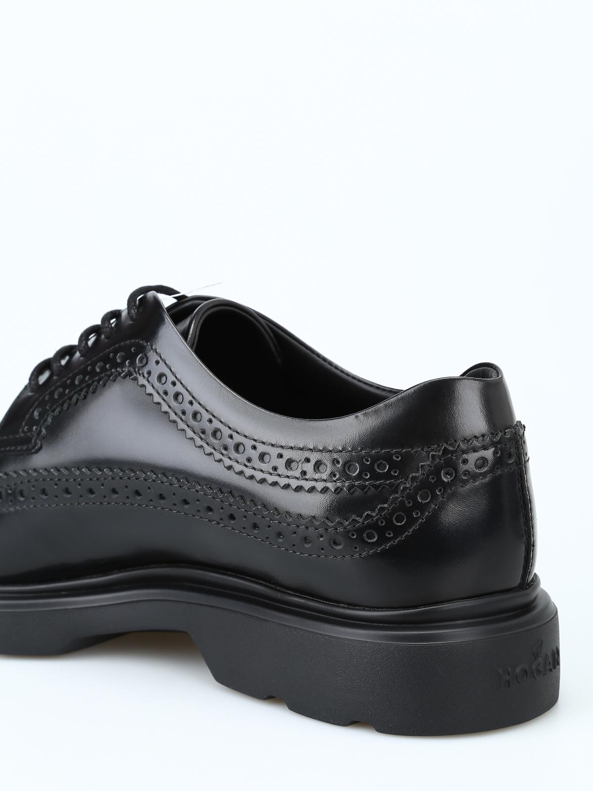 Hogan - Derby stringate H393 nere con memory foam - scarpe stringate ... e8b76b03889