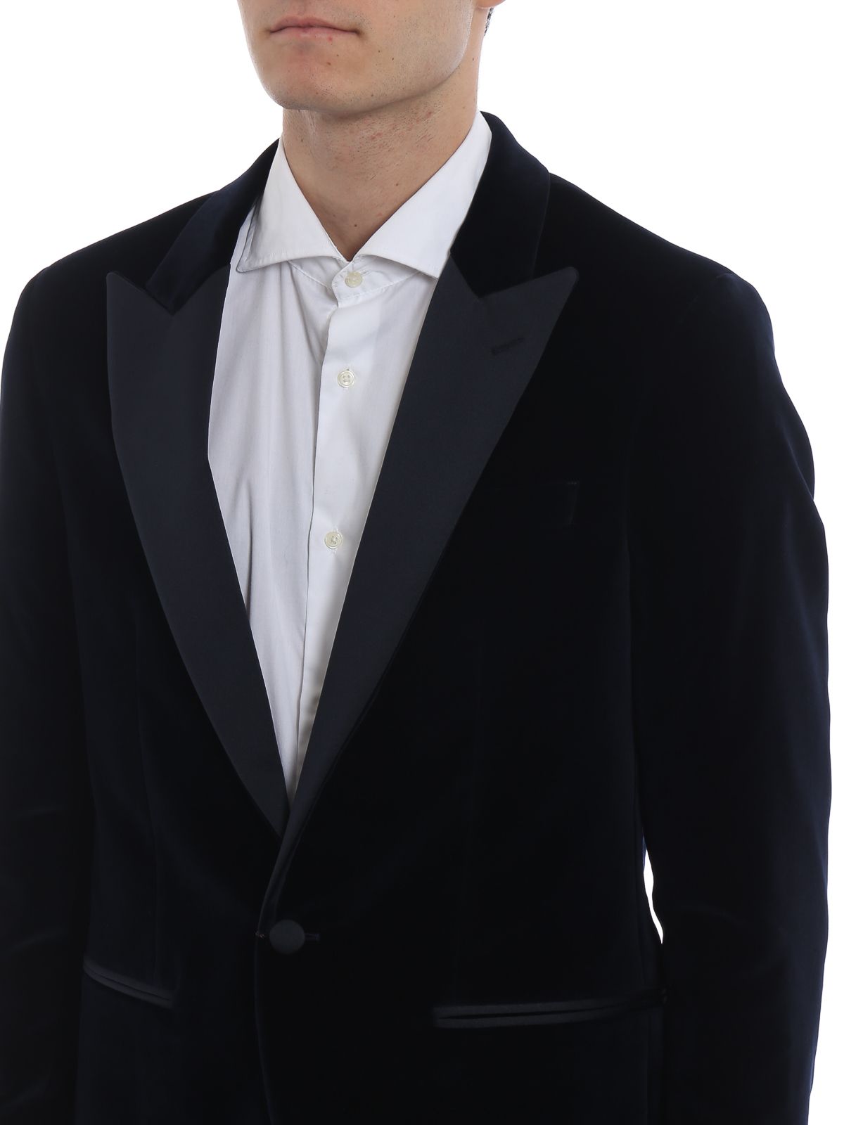 Hackett - Blue velvet blazer with satin lapels - blazers