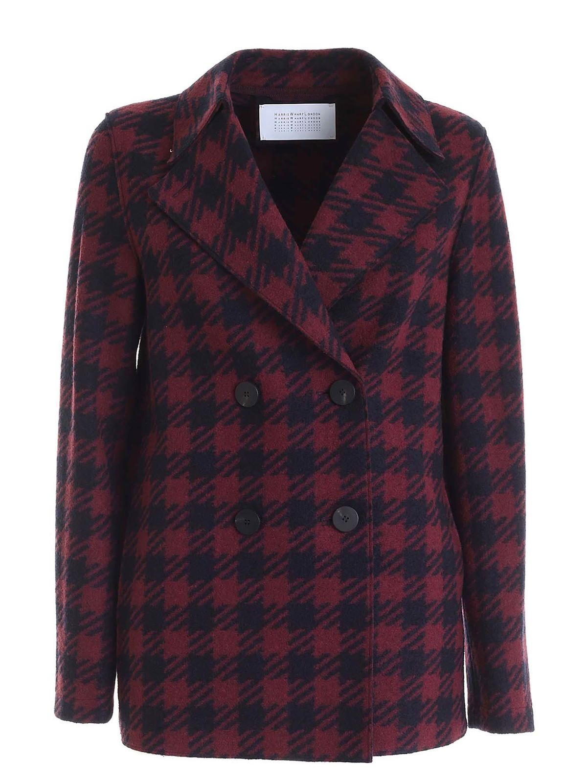 Harris Wharf London HOUNDSTOOTH JACKET IN BLUE AND BURGUNDY COLOR