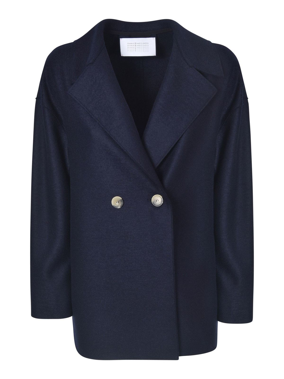 Harris Wharf London DOUBLE-BREASTED COAT IN NAVY BLUE