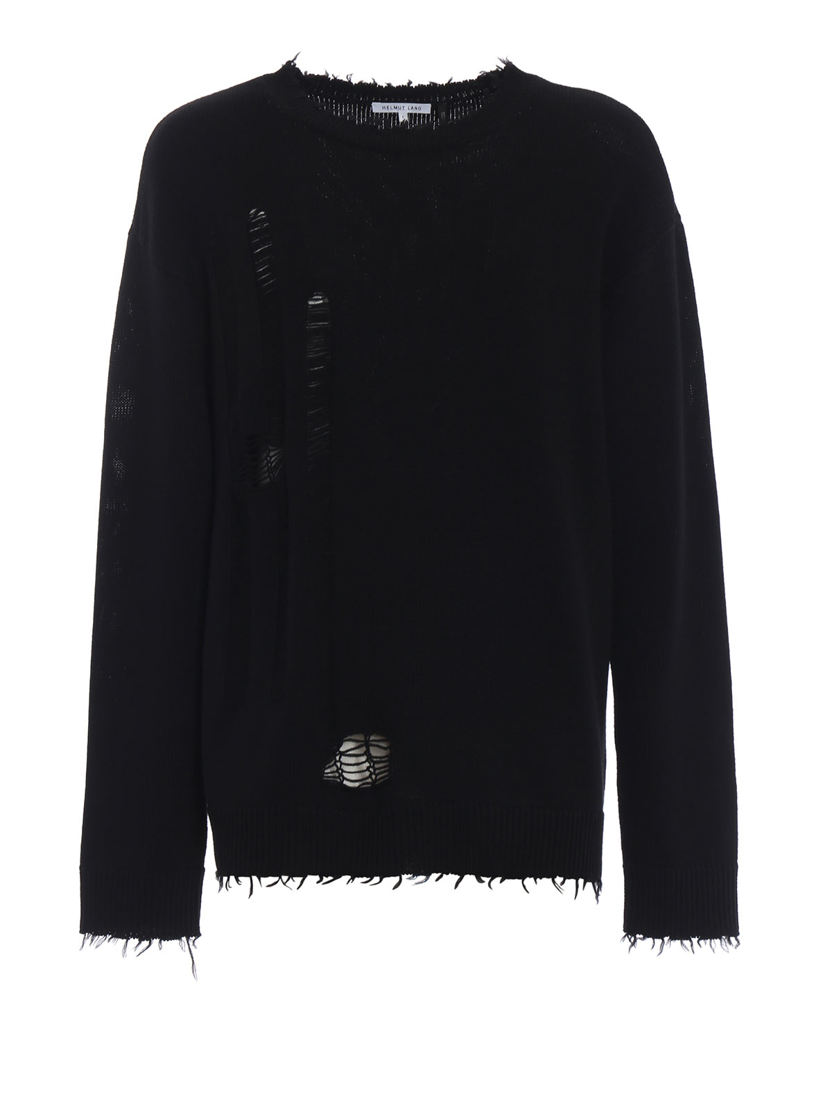 c13438f114808 Helmut Lang - Distressed black wool sweater - crew necks - I05HM702001