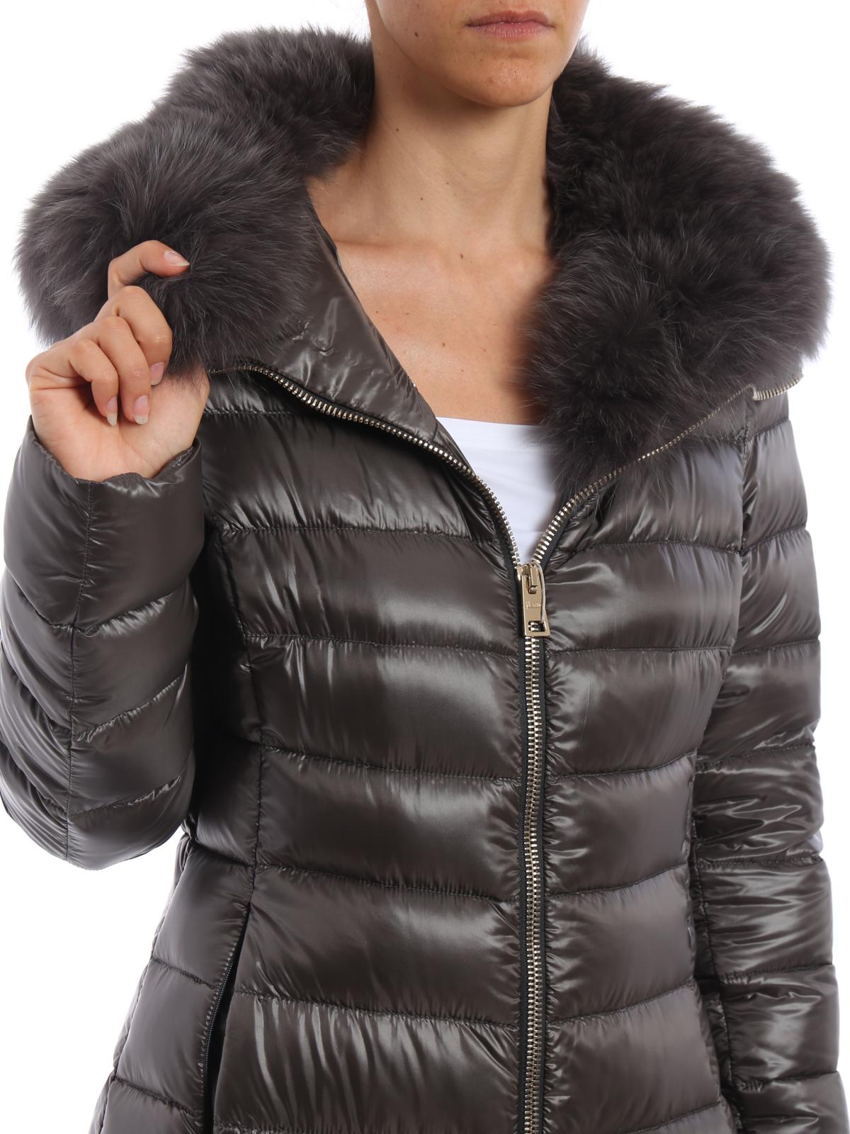 33233b6a25a4 Herno - Piumino con collo di pelliccia - cappotti imbottiti ...