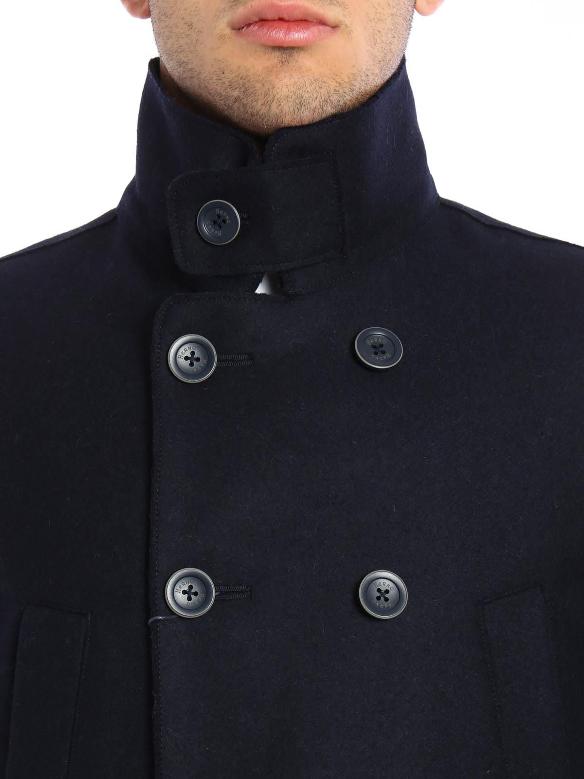 quality design ebf5c 2f9bc Herno - Caban doppiopetto in panno di lana - cappotti corti ...
