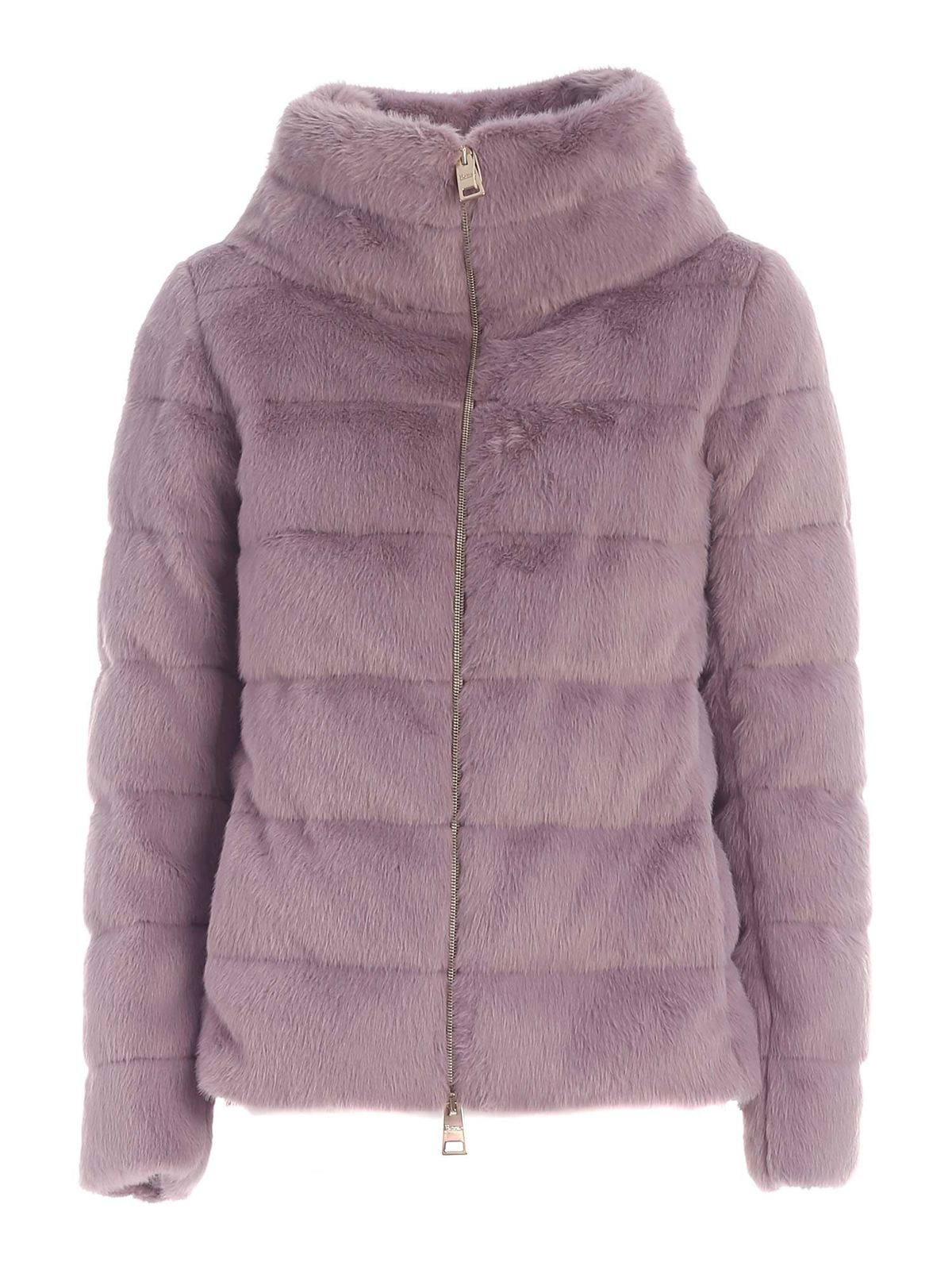 Herno PADDED ECO FUR IN PURPLE COLOR