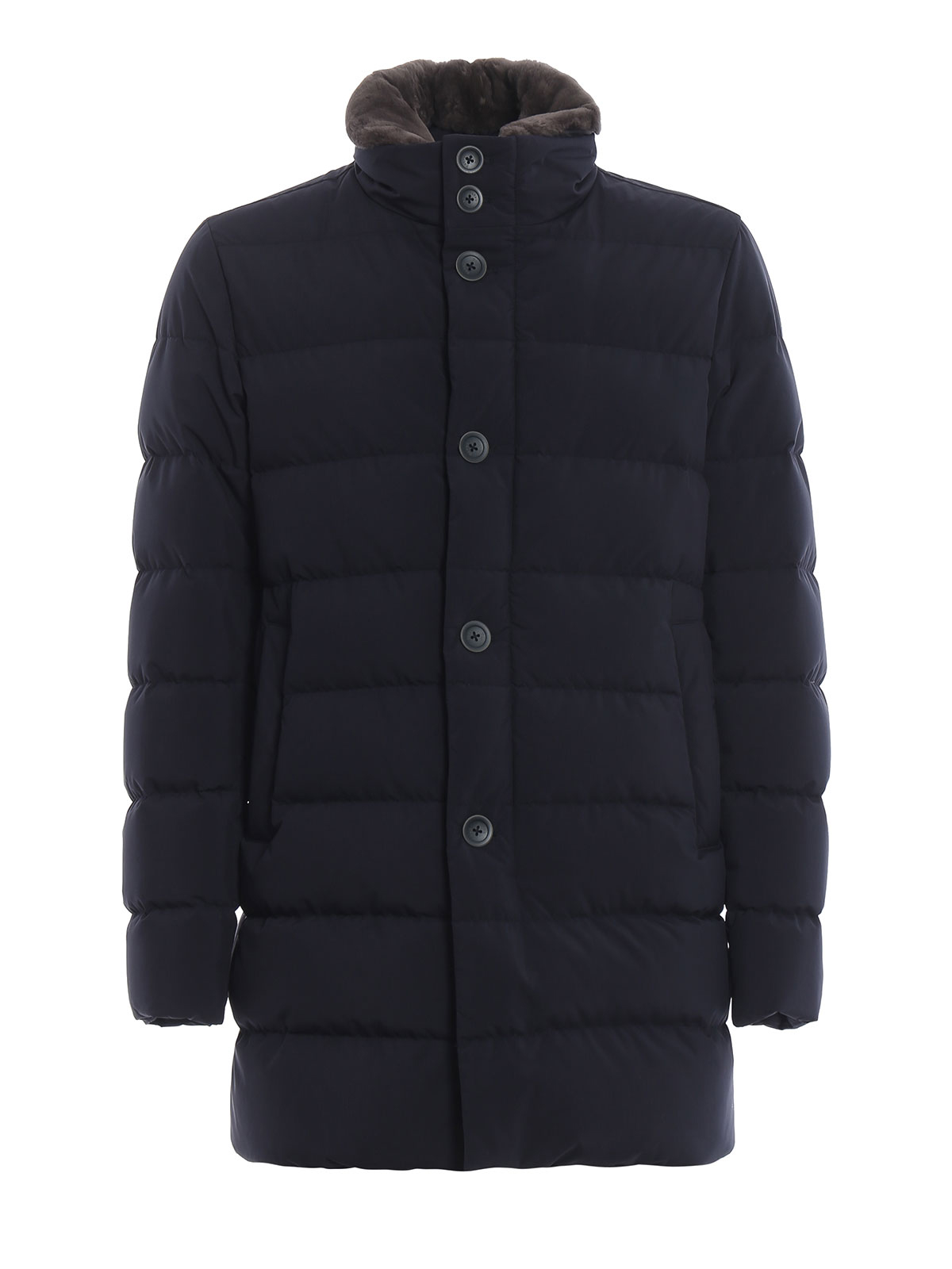 Herno Beaver Collar Techno Fabric Blue Puffer Coat