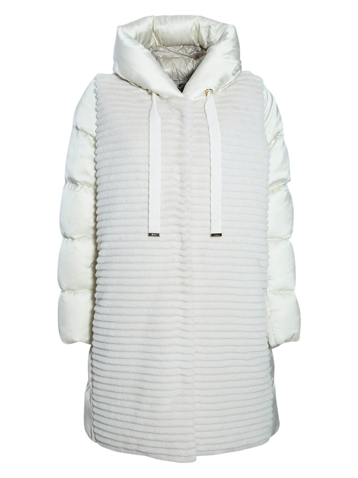 Herno DOWN JACKET IN WHITE FEATURING SYNTHETIC FUR