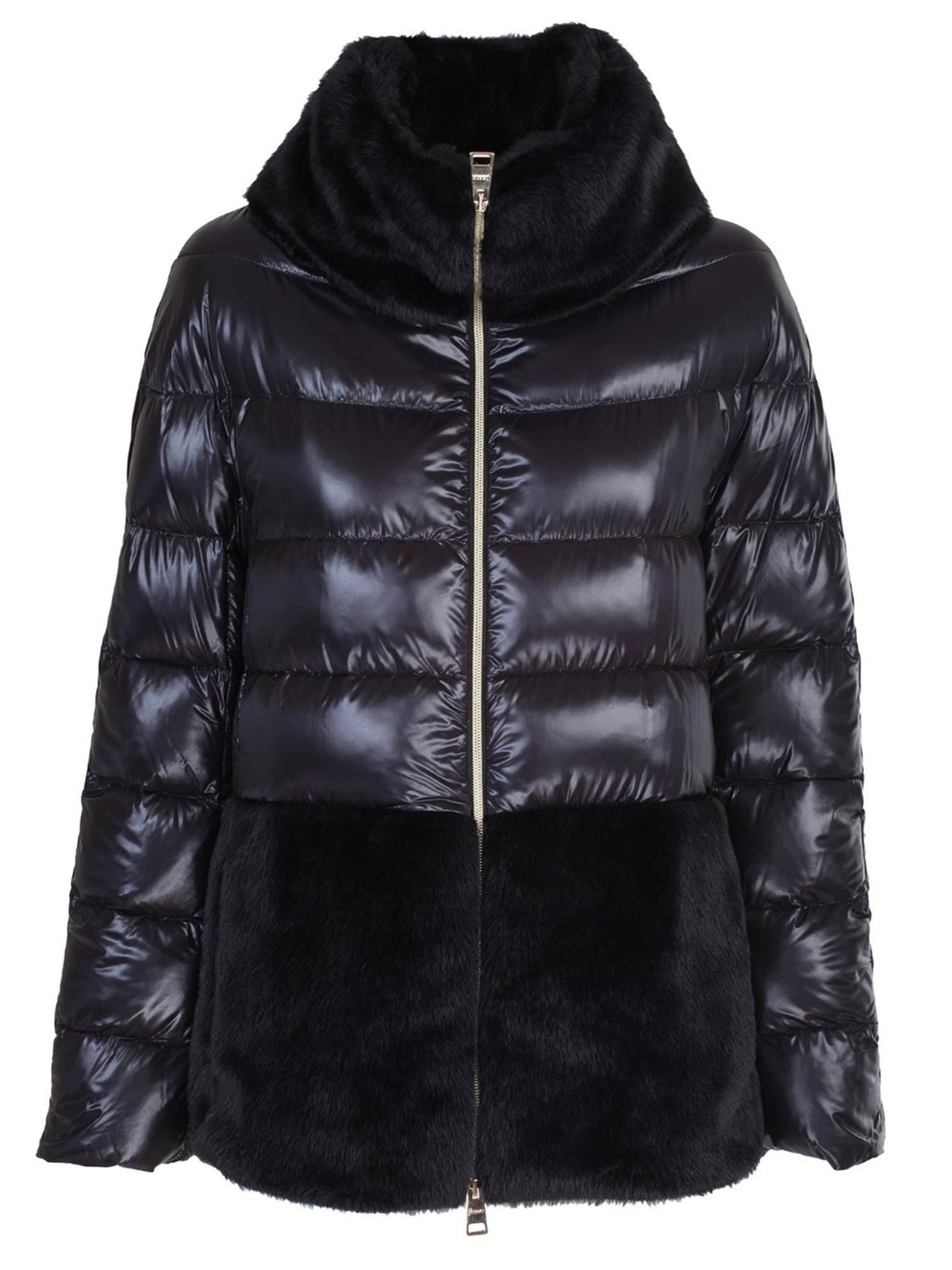 Herno FAUX FUR DOWN JACKET IN BLACK