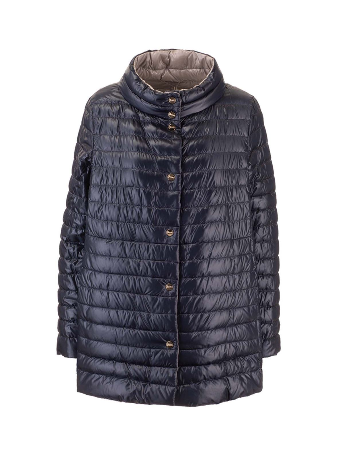 Herno REVERSIBLE DOWN JACKET IN NAVY BLUE AND GREY