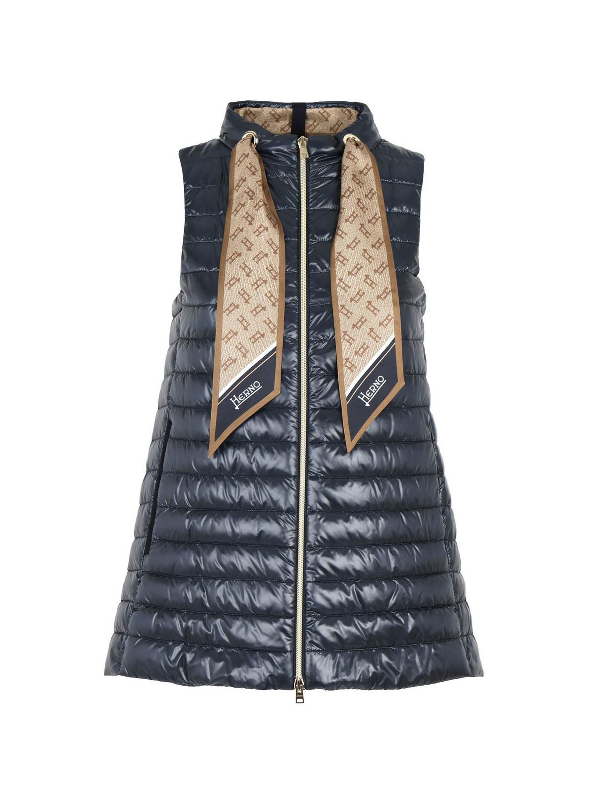Herno Jackets SCARF SLEEVELESS DOWN JACKET IN BLUE