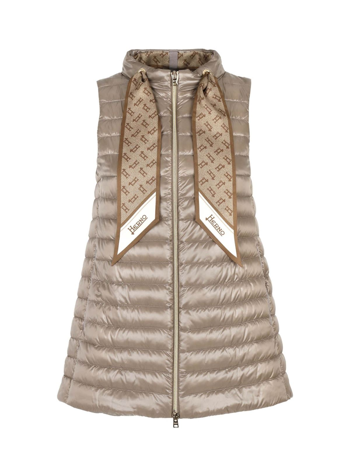Herno Jackets SCARF SLEEVELESS DOWN JACKET IN DOVE GRAY