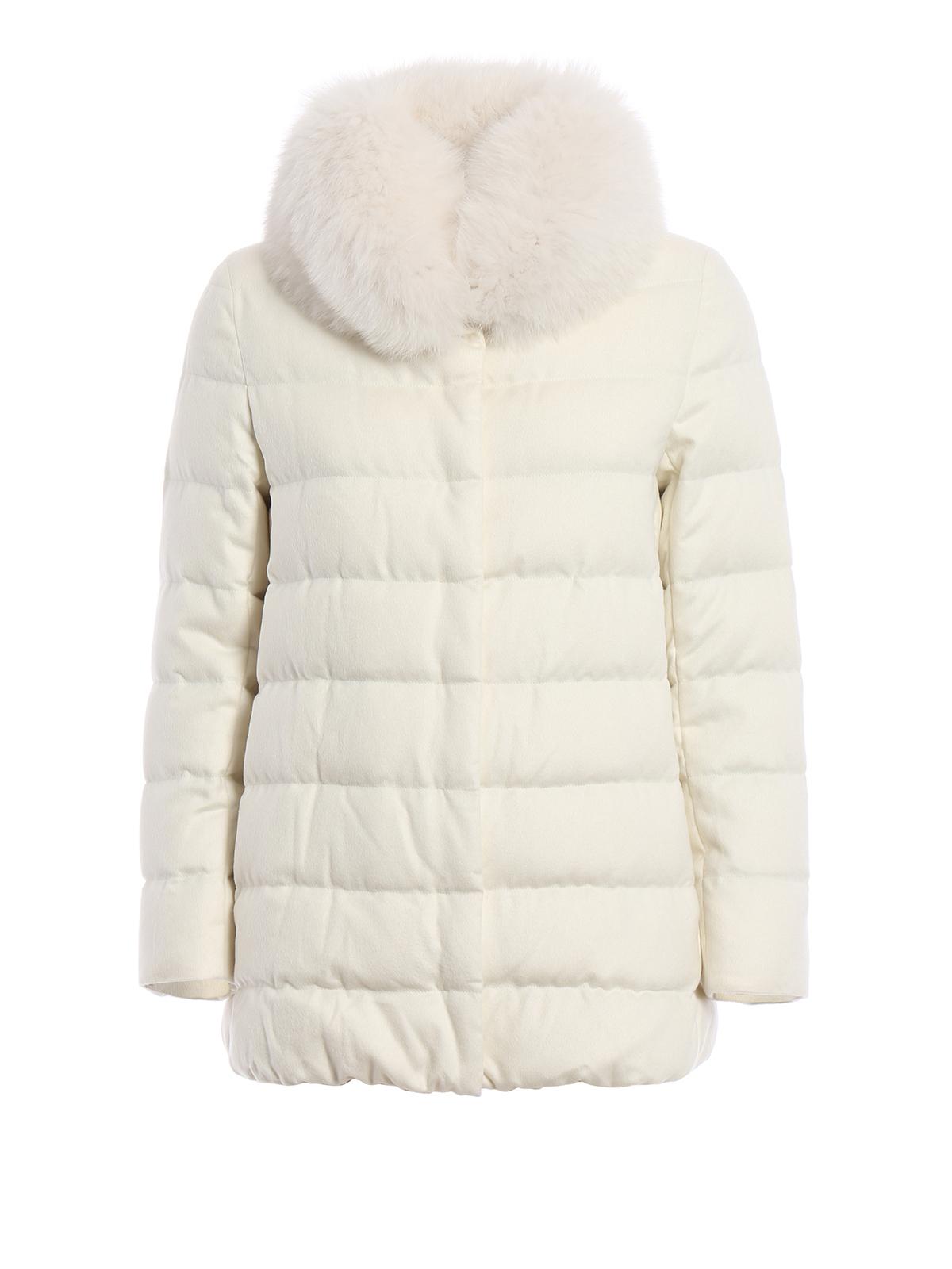 Herno: Cappotto bianco con collo in pelliccia