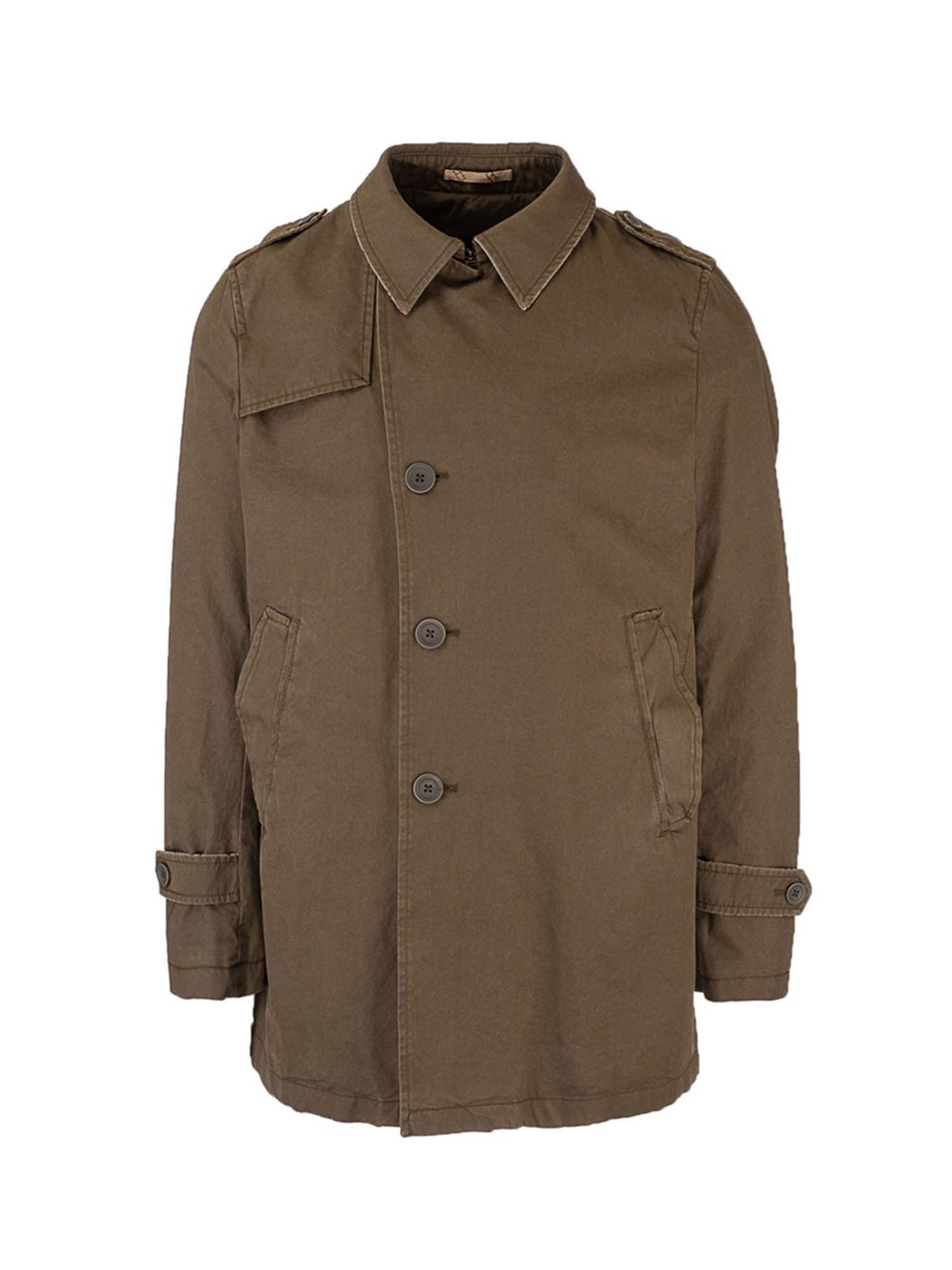 Herno ASYMMETRIC FASTENING TRENCH COAT IN GREEN