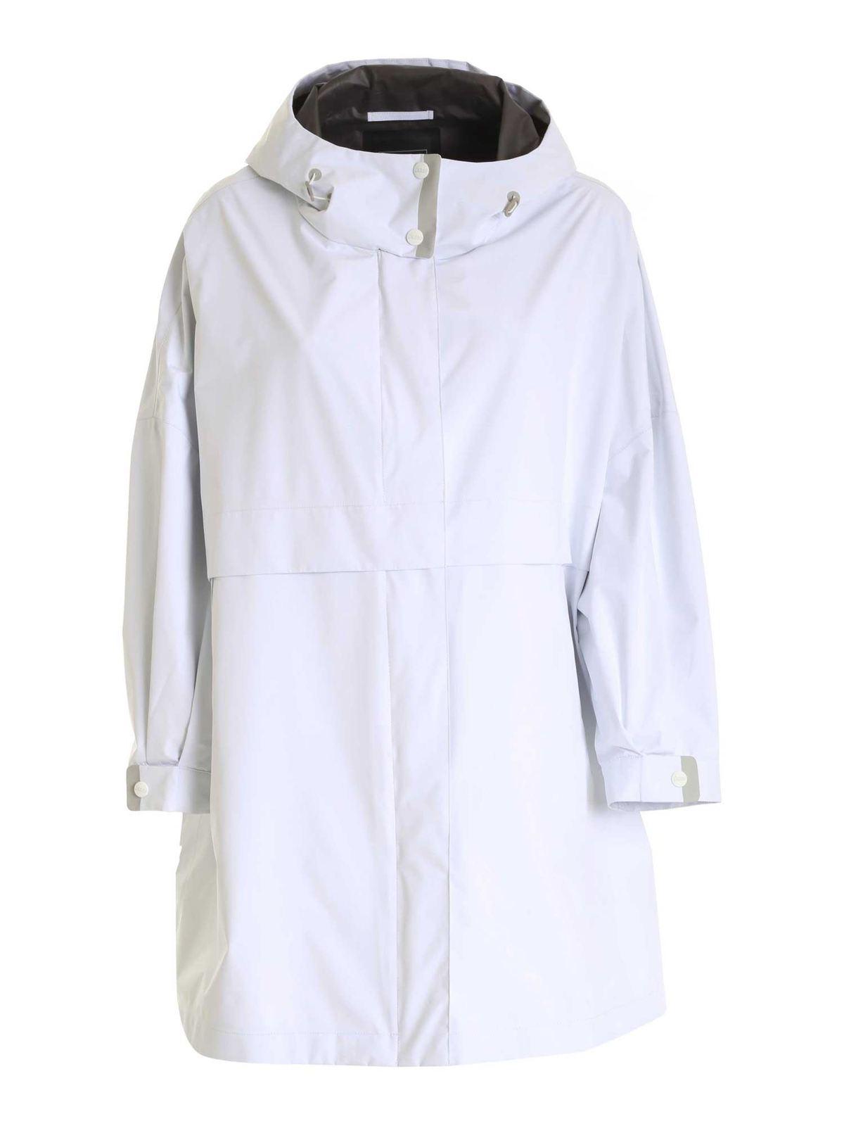 Herno Coats HOODED RAINCOAT IN WHITE