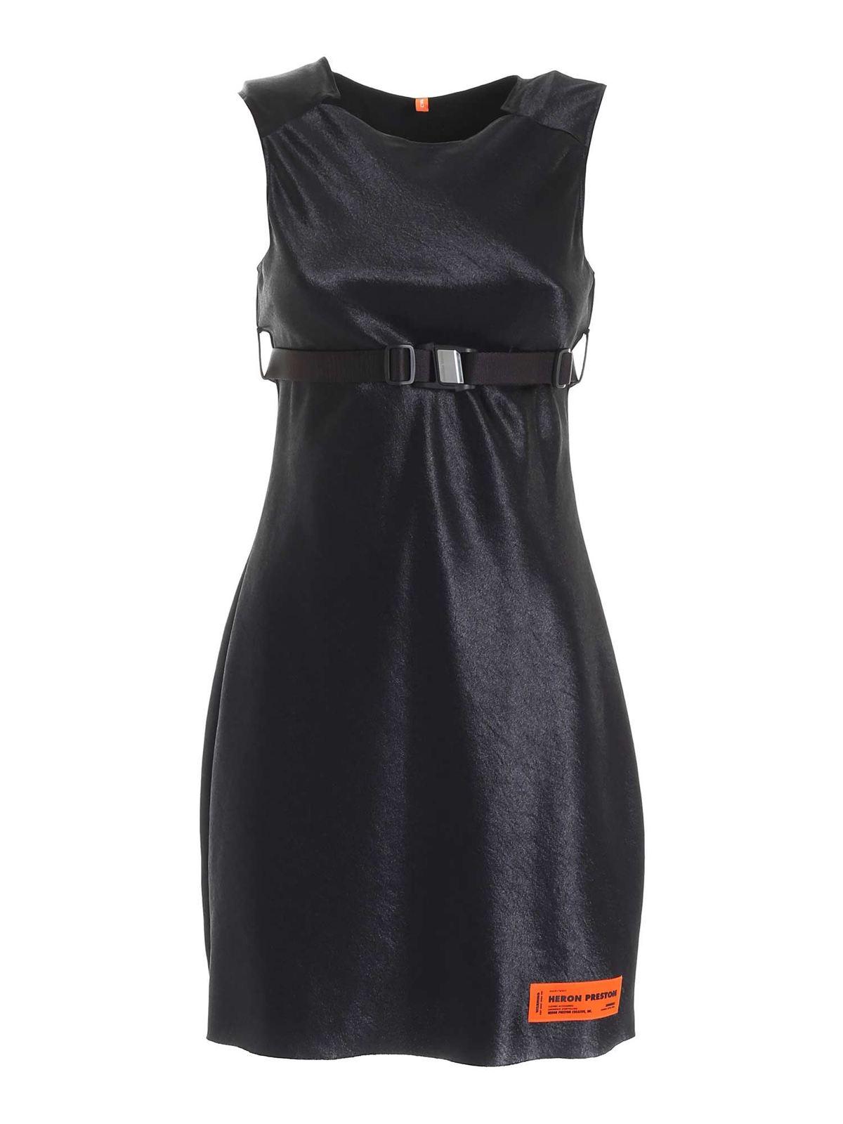Heron Preston LOGO PATCH SLEEVELESS DRESS IN BLACK