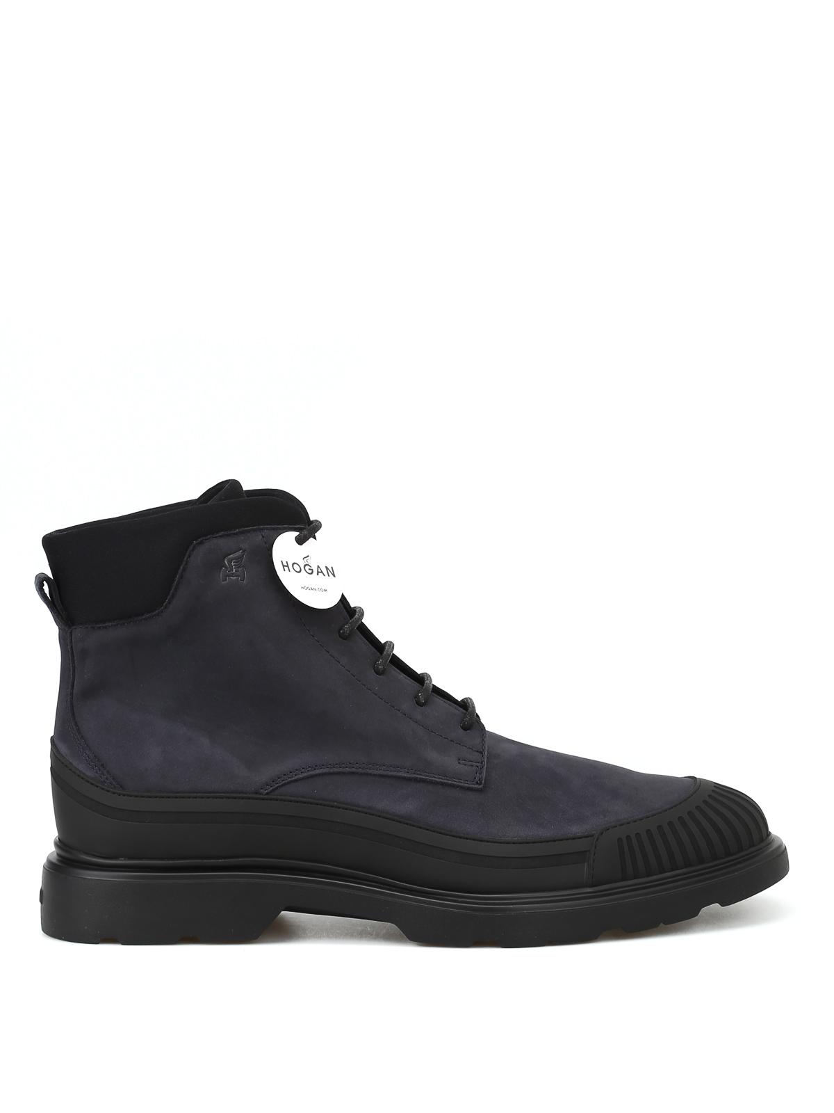 Ankle boots Hogan - Charcoal nubuck combat boots - HXM3930AV00JPT57R2