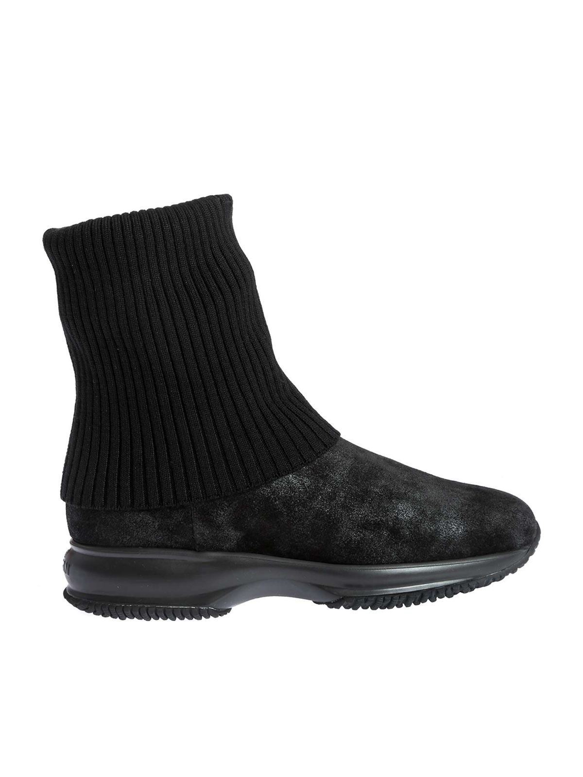 Hogan BLACK INTERACTIVE ANKLE BOOTS