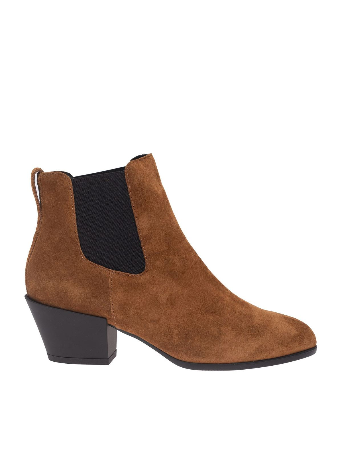 HOGAN TEXAN ANKLE BOOTS IN BROWN