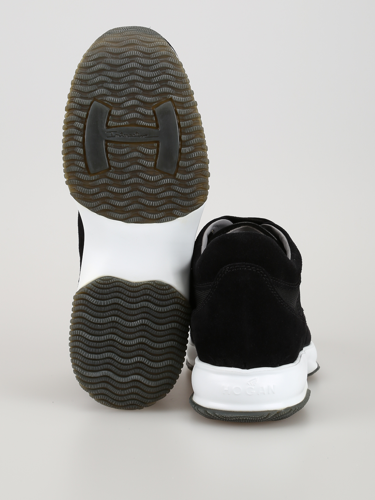 Sneakers Hogan - Interactive nere in camoscio e tessuto ...