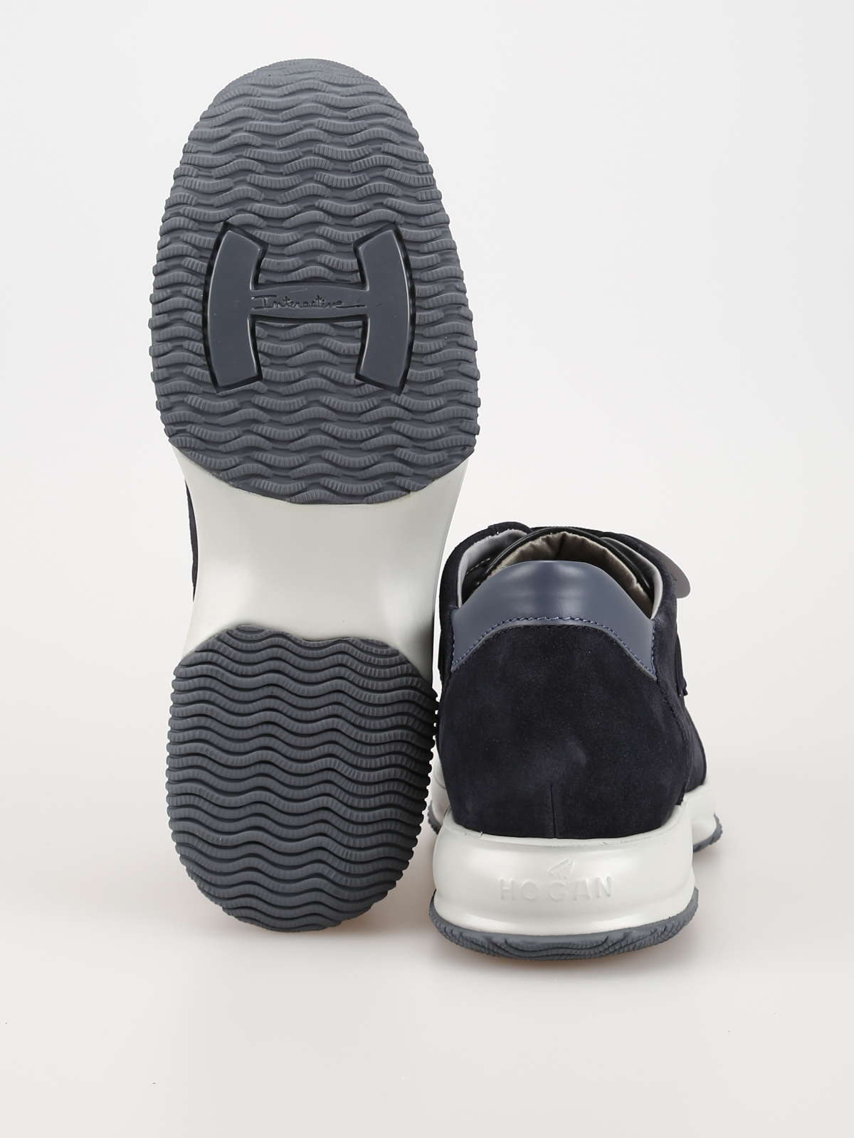 Trainers Hogan - Interactive blue suede and fabric sneakers ...