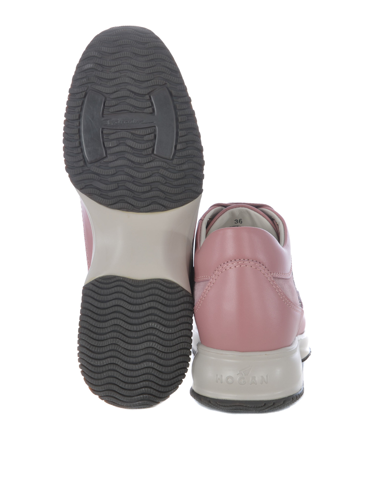 Trainers Hogan - Interactive embellished pink sneakers ...
