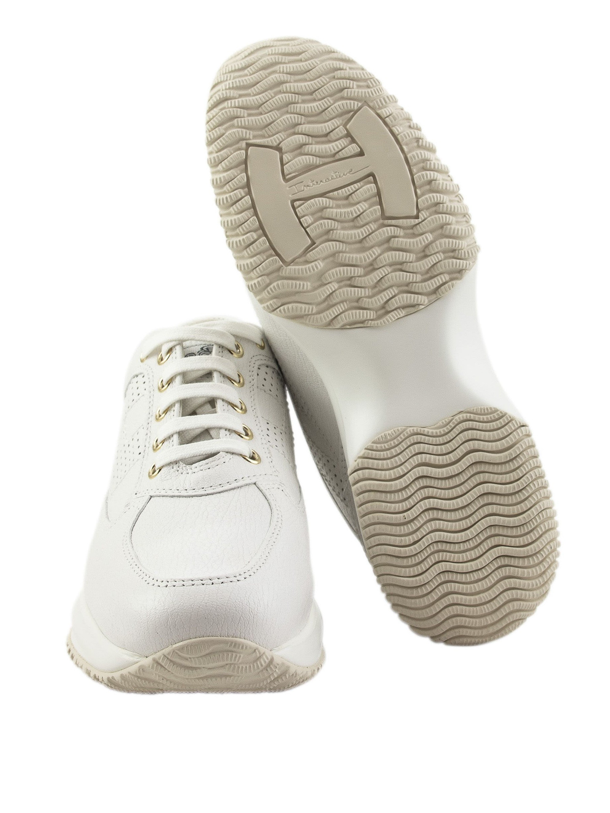 Hogan - Interactive perforated H white sneakers - trainers ...