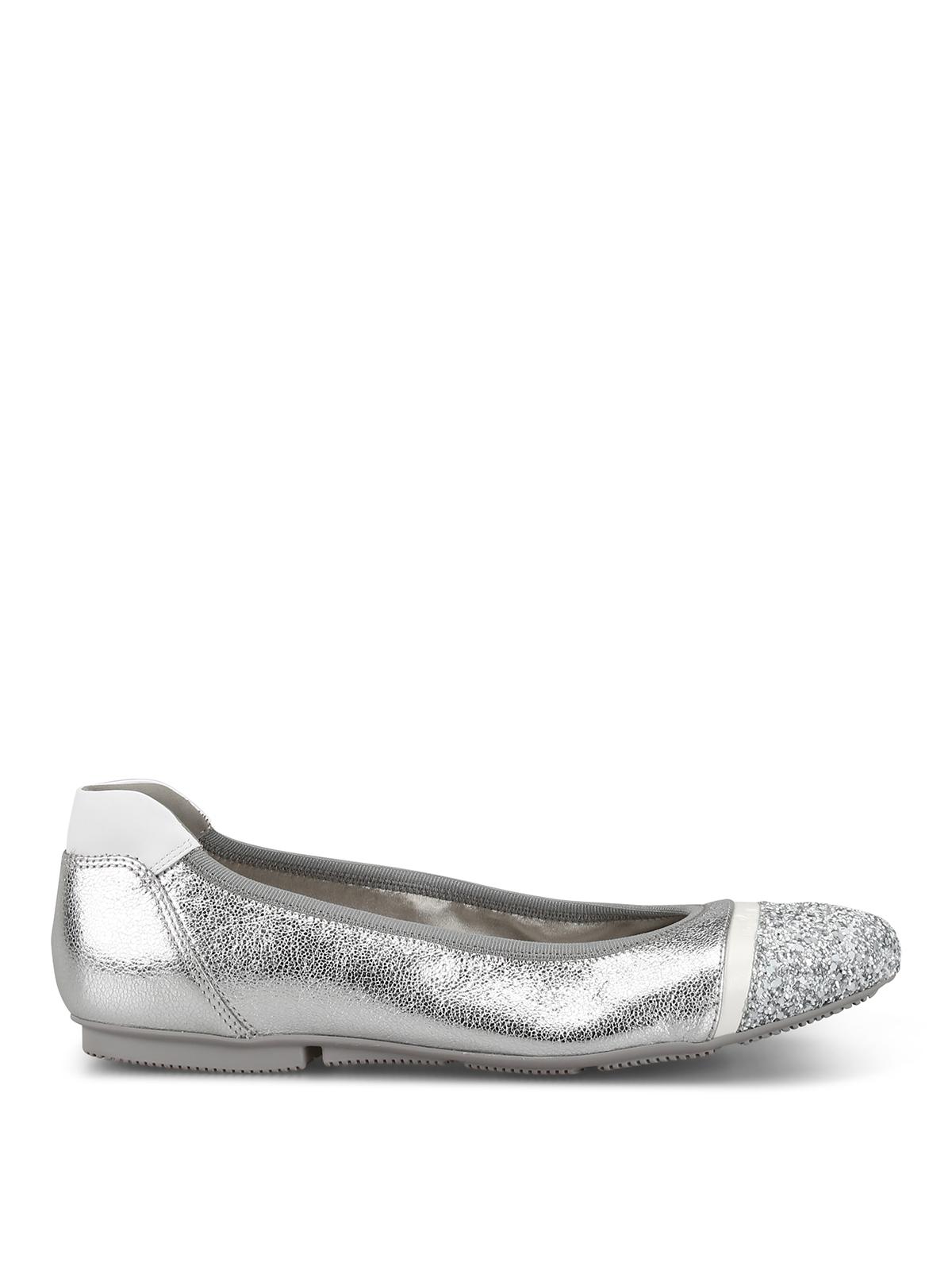 Hogan Wrap-h144 Silver Leather Flats