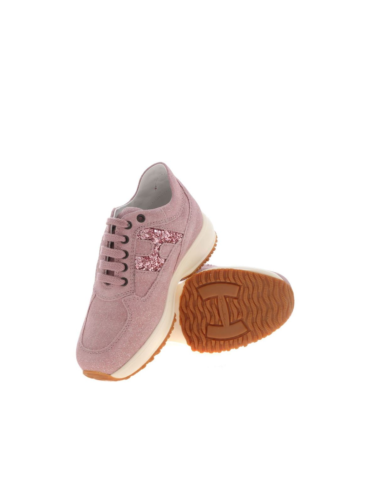 Hogan Junior - Interactive H sneakers in pink lamé - trainers ...