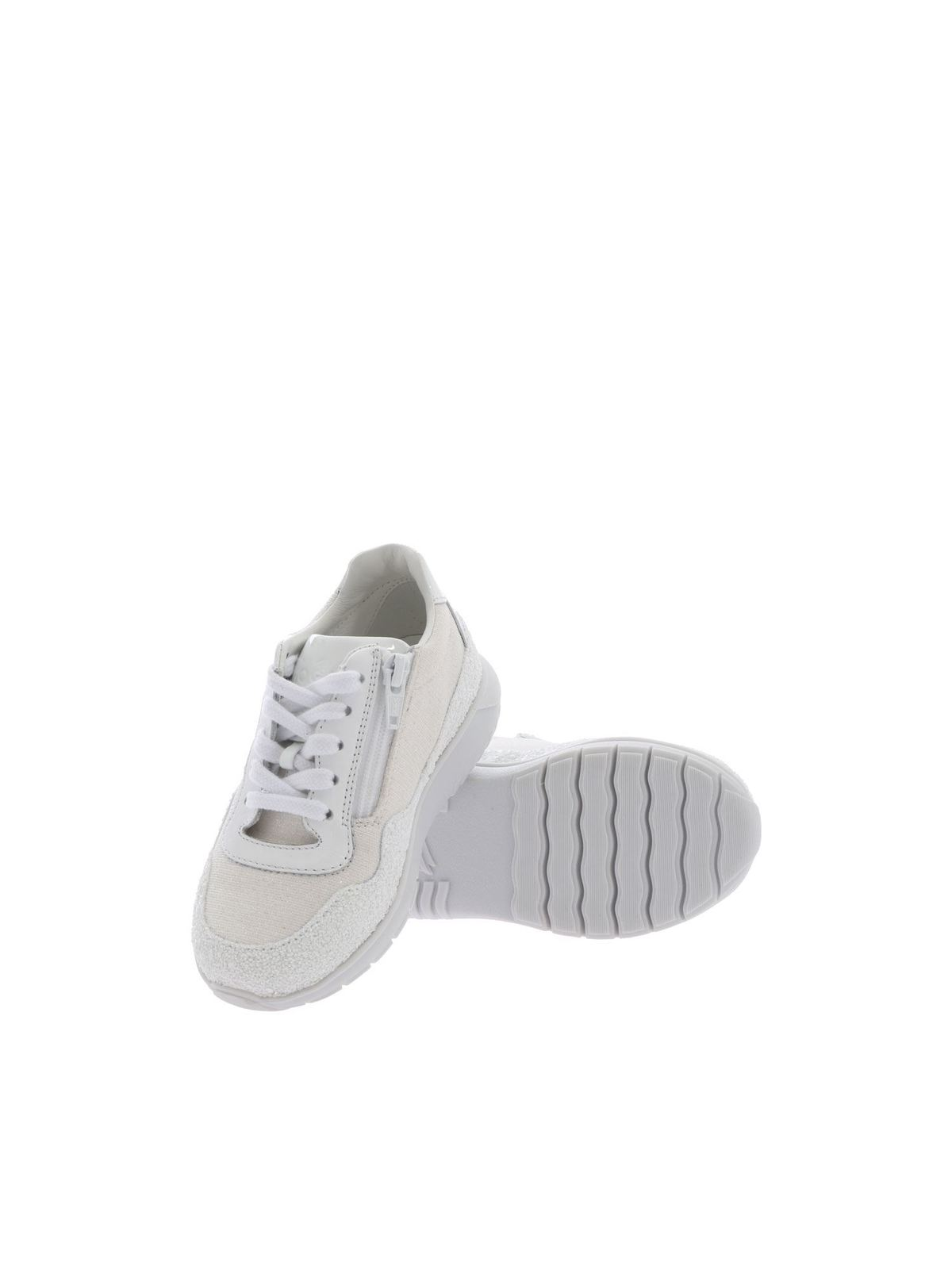Hogan Junior - J371 sneakers in white glitter - trainers ...