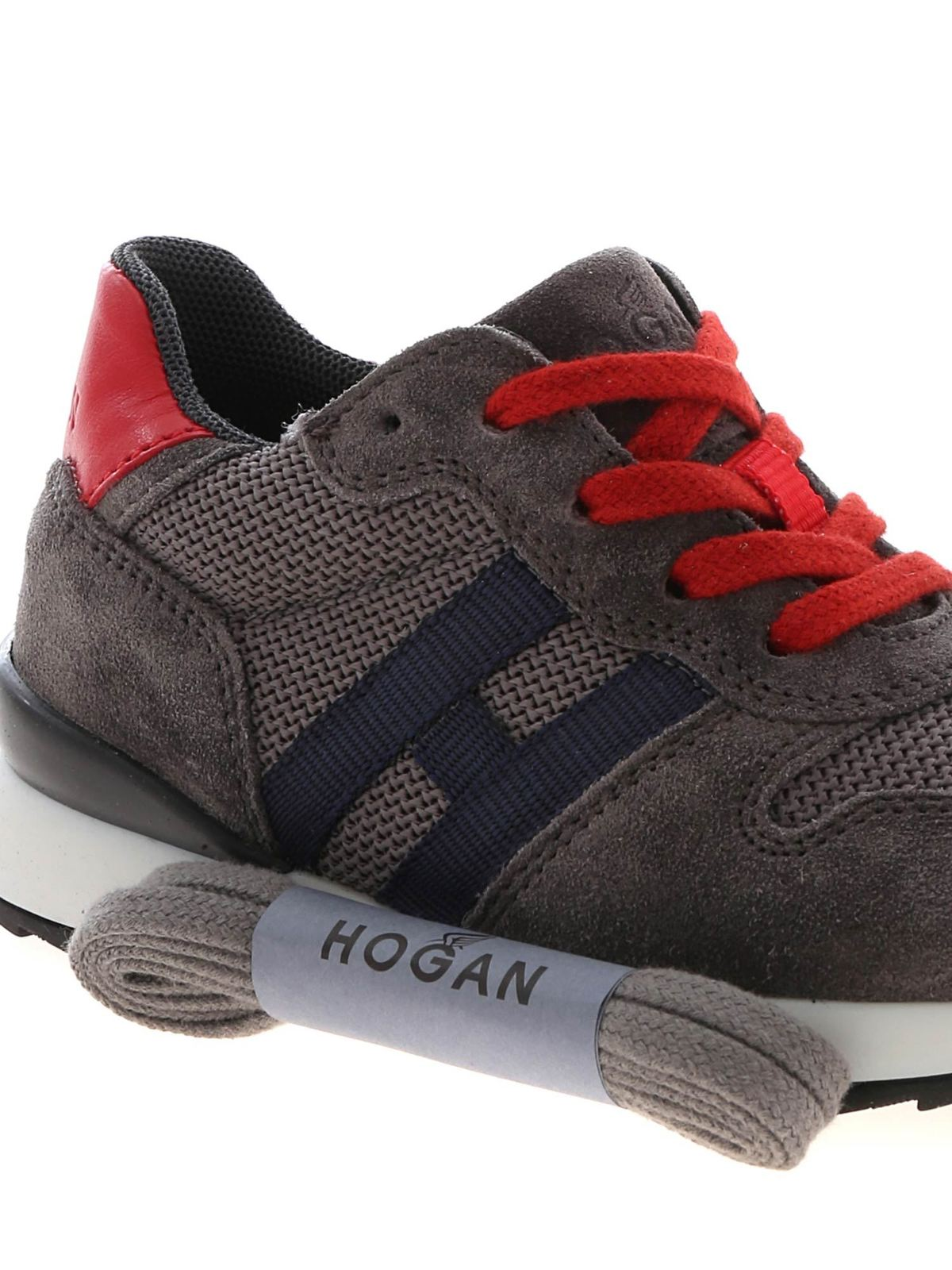 Hogan Junior - R261 sneakers in grey and red - اسپرت،اسنیکرز ...